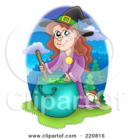 Royalty-Free (RF) Clipart Illustration of a Cute Halloween Witch Mixing A Spell In A Cauldron And Smiling by visekart