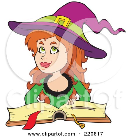 Royalty-Free (RF) Clipart Illustration of a Pretty Female Witch Thinking And Resting Her Handon A Spell Book by visekart