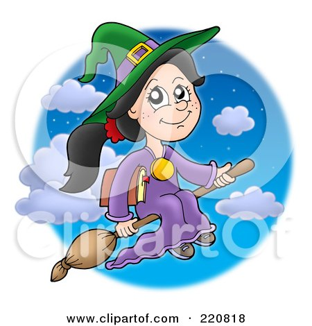 Royalty-Free (RF) Clipart Illustration of a Cute Halloween Witch Flying With A Book Through A Night Sky by visekart