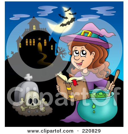 Royalty-Free (RF) Clipart Illustration of a Witch Making A Spell Near A Haunted House With Bats In The Sky by visekart