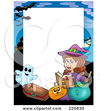 Royalty-Free (RF) Clipart Illustration of a Halloween Frame Of A Witch Making A Spell By A Pumpkin, Coffin, Ghost And Haunted House by visekart