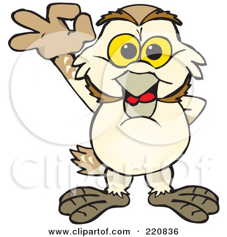Royalty-Free (RF) Clipart Illustration of a Happy Barn Owl Gesturing Ok by Dennis Holmes Designs