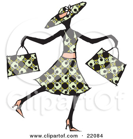 Happy lady in a patterned dress hat and heels waltzing past and