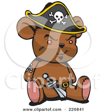 Royalty-Free (RF) Clipart Illustration of a Brown Pirate Teddy Bear With A Knife In His Belt by Dennis Holmes Designs