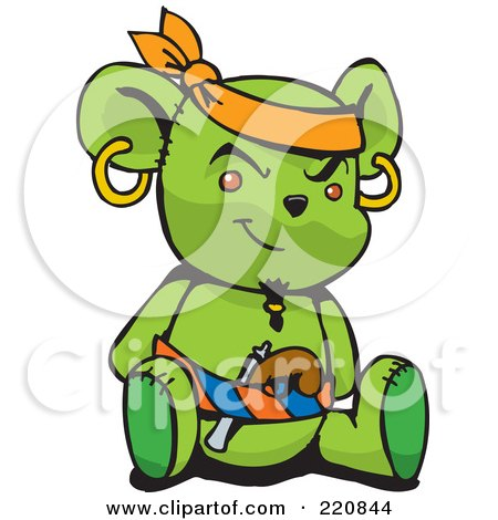 Royalty-Free (RF) Clipart Illustration of a Green Pirate Teddy Bear With A Pistol In His Belt by Dennis Holmes Designs
