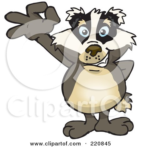 Royalty-Free (RF) Clipart Illustration of a Happy Badger Gesturing Ok by Dennis Holmes Designs