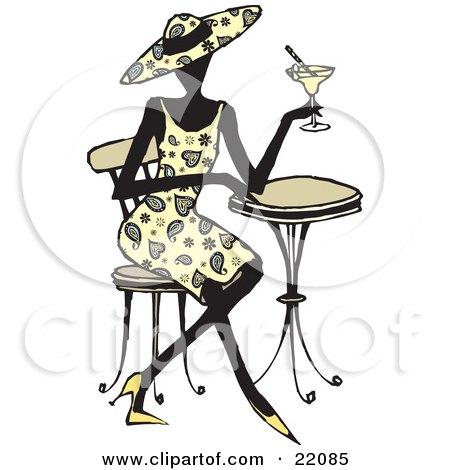 Clipart Picture of a Fashionable Woman In Heels, A Paisley Dress And Matching Hat, Seated At A Cafe Table And Sipping A Cocktail by Steve Klinkel