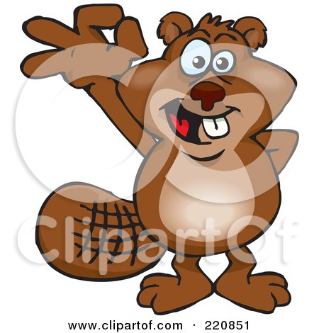 Royalty-Free (RF) Clipart Illustration of a Happy Beaver Gesturing Ok by Dennis Holmes Designs