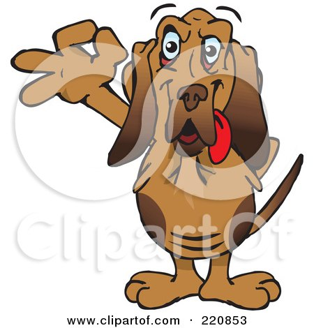 Royalty-Free (RF) Clipart Illustration of a Happy Bloodhound Gesturing Ok by Dennis Holmes Designs