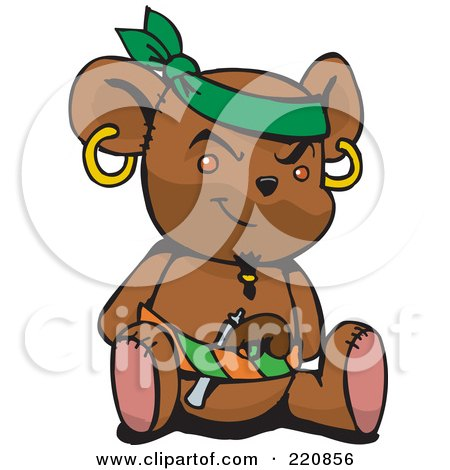 Royalty-Free (RF) Clipart Illustration of a Brown Pirate Teddy Bear With A Pistol In His Belt by Dennis Holmes Designs