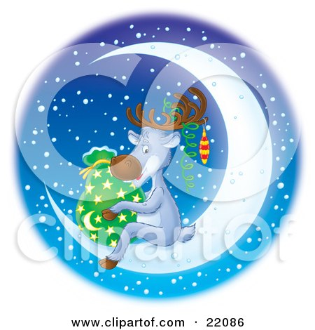 Clipart Illustration of a Cute Reindeer Wearing Ornaments On His Antlers, Holding Santa's Sack Of Toys And Sitting On A Bright Crescent Moon On A Snowy Winter Night by Alex Bannykh