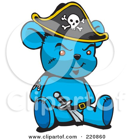 Royalty-Free (RF) Clipart Illustration of a Blue Pirate Teddy Bear With A Knife In His Belt by Dennis Holmes Designs