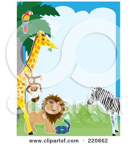 Royalty-Free (RF) Clipart Illustration of a Border Of A Parrot In A Tree, Monkey On A Giraffe, Lion, Snake And Zebra by Maria Bell