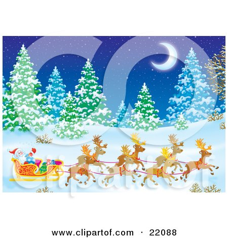 Clipart Illustration of Santa's Reindeer Pulling St Nicholas And Presents In A Sleigh Through A Forest Of Snow Flocked Evergreen Trees Under A Crescent Moon On A Snowy Winter Night by Alex Bannykh
