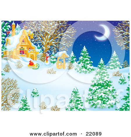Clipart Illustration of a Winter Wonderland Of Snow Flocked Evergreen And Bare Trees, A Well, Sled And Snowman Under The Light Of A Crescent Moon In The Yard Of A House by Alex Bannykh