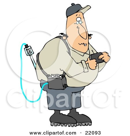 Clipart Illustration of a White Man Reading A Gas Detector Pager While Working On The Job by djart