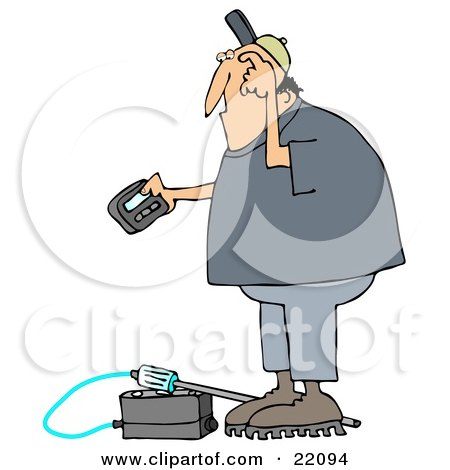 Clipart Illustration of a Confused White Man Scratching His Head, Reading A Gas Meter Detector Pager While Working by djart