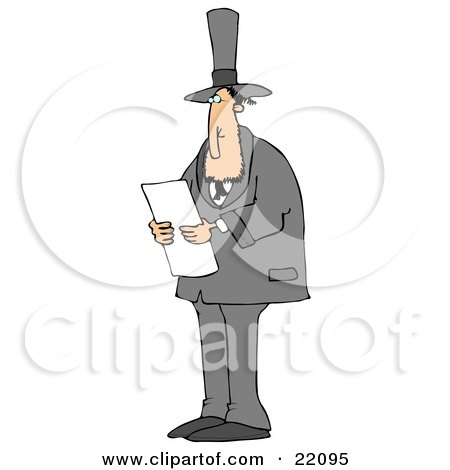 Clipart Illustration of Abraham Lincoln In A Black Suit And Top Hat, Standing And Reading While Giving A Speech As American President by djart