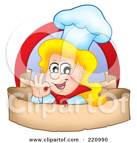 Royalty-Free (RF) Clipart Illustration of a Female Chef Gesturing Ok Over A Blank Parchment Banner by visekart