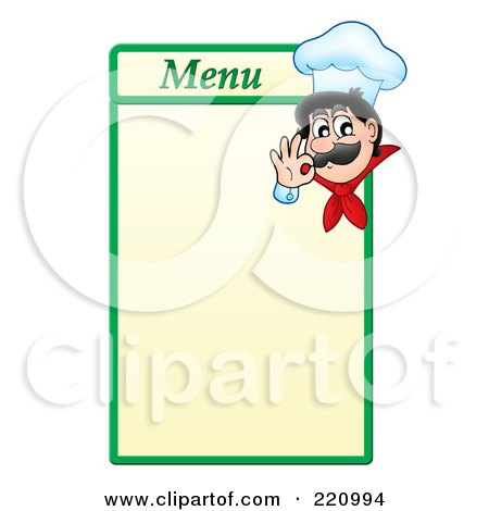 Royalty-Free (RF) Clipart Illustration of a Male Chef Gesturing Ok On A Green And Yellow Menu Board by visekart
