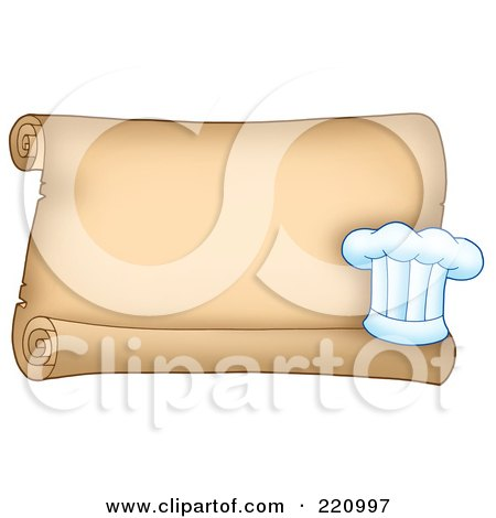 Royalty-Free (RF) Clipart Illustration of a Horizontal Parchment Scroll Sign With A Chefs Hat by visekart