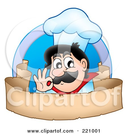 Royalty-Free (RF) Clipart Illustration of a Male Chef Gesturing Ok Over A Blank Parchment Banner by visekart