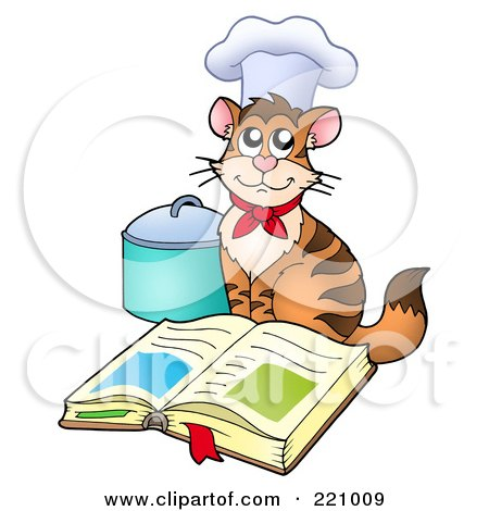 Royalty-free clipart picture of a chef cat wearing a hat and sitting by an