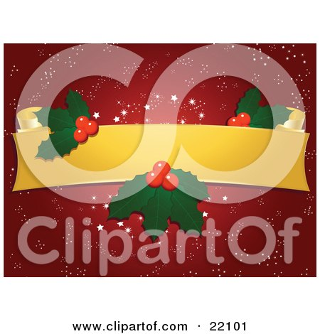 Clipart Picture of a Blank Yellow Scroll With Christmas Holly And Berries Over A Red Snowflake Background by elaineitalia