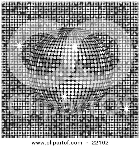 Clipart Picture of a Sparkling Platinum, Silver Or Chrome Mirror Disco Ball Spinning Over A Shiny Background by elaineitalia