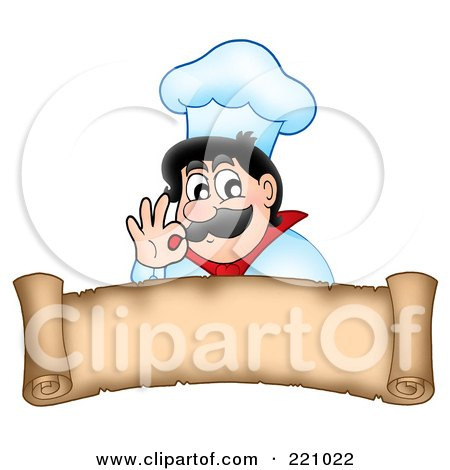 Royalty-Free (RF) Clipart Illustration of a Male Chef Gesturing Ok Above A Parchment Scroll Banner by visekart