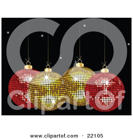 Clipart Picture of Two Yellow And Two Red Mirror Disco Christmas Ornaments Sparkling, Suspended Over A Black Starry Background by elaineitalia