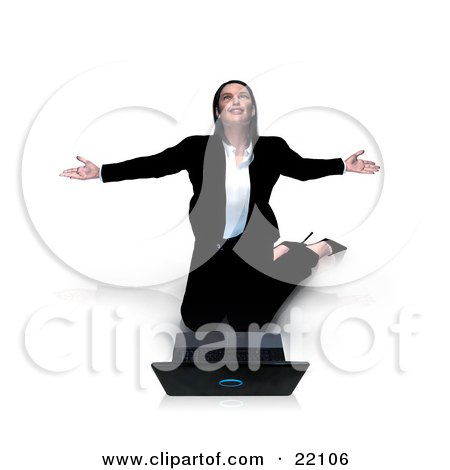 Thankful Young Caucasian Businesswoman Kneeling Before Her Laptop Computer And Thanking The Lord For Success, Isolated On A White Background Posters, Art Prints