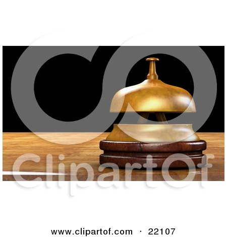 Clipart Illustration of a Brass Service Bell Resting On Top Of A Wooden Counter In An Office by Tonis Pan