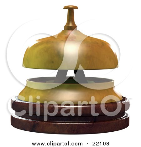 Clipart Illustration of a Wooden And Brass Service Bell In An Office Or Hotel, Symbolizing Customer Service by Tonis Pan