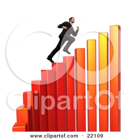 Successful Young Caucasian Businessman Sprinting Up Steps On A Red And Orange Curving Increasing Bar Graph Posters, Art Prints