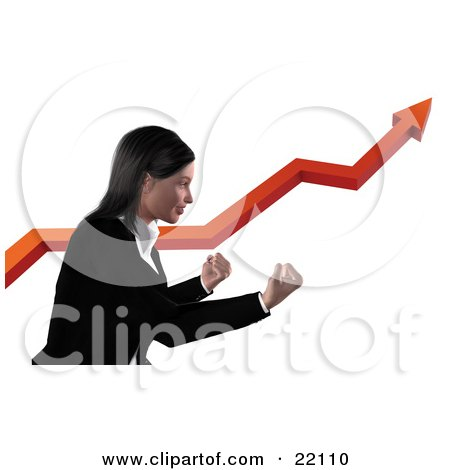 Clipart Illustration of a Professional Business Woman In A Black Suit, Holding Here Fists Out And Standing Alongside A Red Arrow Increasing On A Graph, Symbolizing Success And Ambition by Tonis Pan