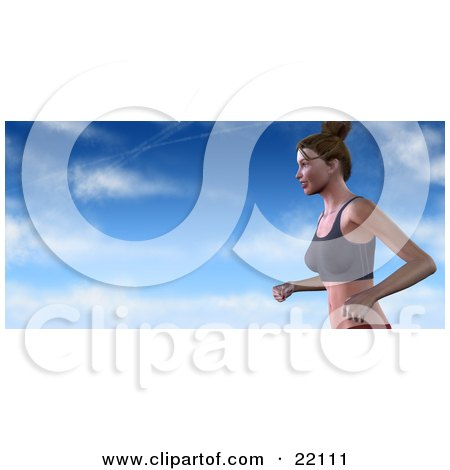 Clipart Illustration of a Healthy And Fit Caucasian Woman With Her Hair Tied Up, Running In A Sports Bra Against A Blue Cloudy Sky by Tonis Pan