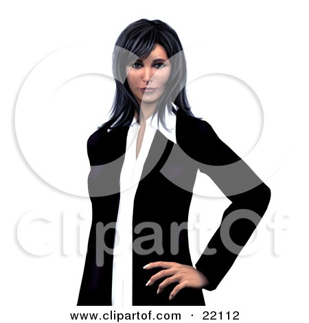 Clipart Illustration of a Confident And Successful Young Corporate Caucasian Busiensswoman With Black Hair And Bangs, Standing With One Hand On Her Hip by Tonis Pan
