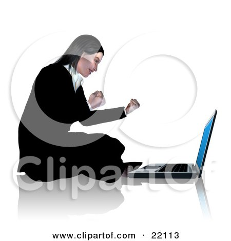 Clipart Illustration of a Professional Young Caucasian Businesswoman Sitting On The Floor In Front Of Her Laptop Computer, Waving Her Fists And Smiling by Tonis Pan