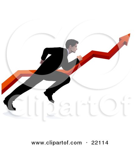 Clipart Illustration of a Professional Businessman In A Black Suit, Running Alongside A Red Arrow Increasing On A Graph, Symbolizing Success by Tonis Pan