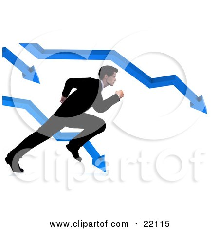 Clipart Illustration of a Corporate Businessman In A Suit, Trying To Run And Escape From The Crashing Arrows On A Bar Graph by Tonis Pan