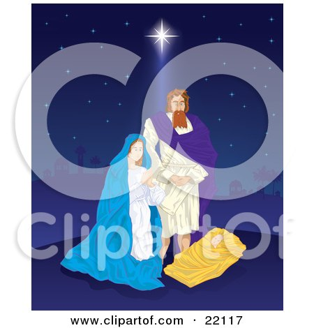 Clipart Illustration of The Birth Of Jesus, With Joseph And Virgin Mary Standing Above The Baby On A Starry Night Sky by Paulo Resende