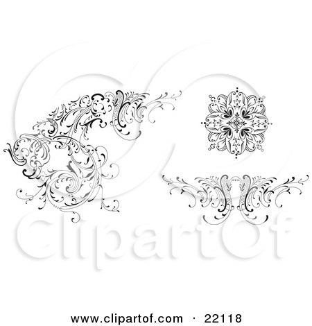 Clipart Picture of Different Floral Design Elements, Black And White by Paulo Resende