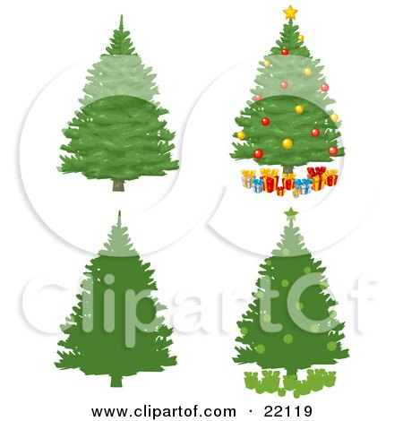 Clipart Illustration of a Collection Of Green Pine Xmas Trees, Some Silhouetted, Some With Ornaments And Presents by Tonis Pan