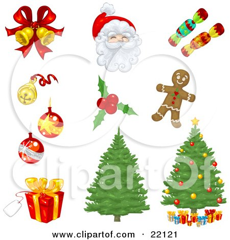 Clipart Illustration of a Collection Of Xmas Icons Of Bells, Ornaments, Santa, Candy, Holly, Gingerbread, Christmas Trees, And Presents by Tonis Pan