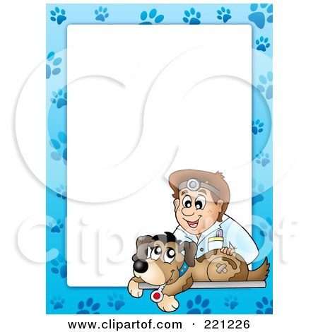 Royalty-Free (RF) Clipart Illustration of a Frame Of A Male Vet And A Dog With Paw Prints Around White Space - 2 by visekart