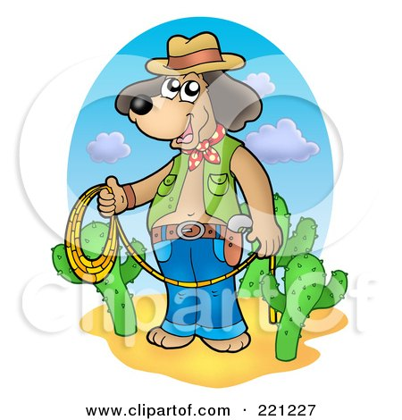 Royalty-Free (RF) Clipart Illustration of a Cowboy Dog Standing With A Lasso By Cacti by visekart