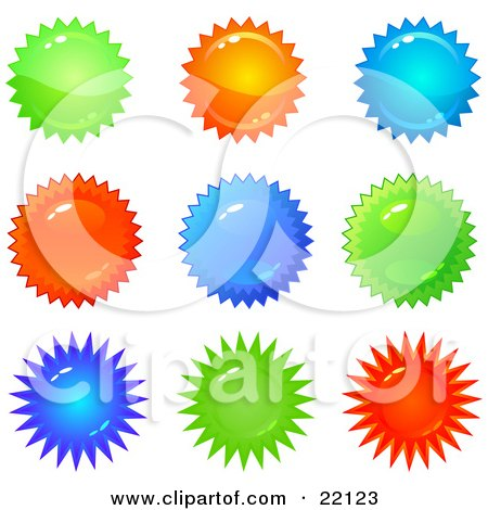 Clipart Illustration of a Collection Of 9 Shiny Green, Orange Blue, And Red Bursts And Seals by Tonis Pan
