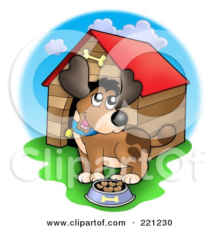 Royalty-Free (RF) Clipart Illustration of a Happy Dog With A Bowl Of Food By A Dog House by visekart