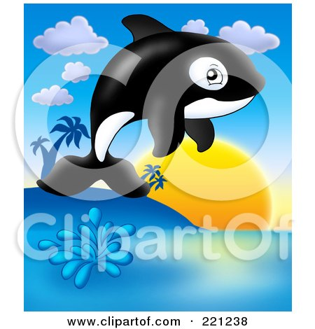 Royalty-Free (RF) Clipart Illustration of a Cute Orca Whale Jumping At Sunset by visekart